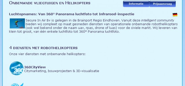 Oude layout website Secure in Air bv; oplossingen met onbemande helikopters (drone/ RPAS)